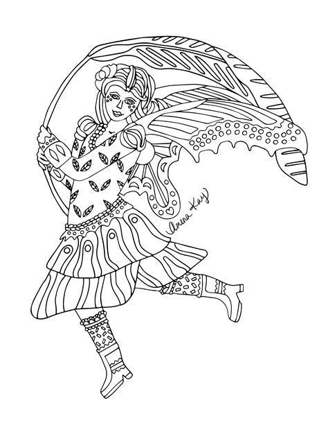 Fairy from Zen Legends Coloring Book by Artist Amena Kay
