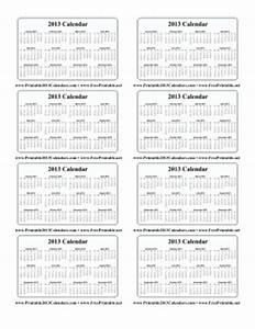 printable 2013 wallet calendar With wallet size calendar template