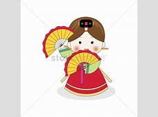 Korean girl dancing with fans Vector Image 2014054