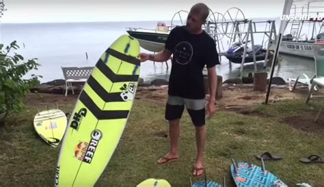 mick fanning foam board mick fanning ditches quot yum yum yellow quot boards in tahiti