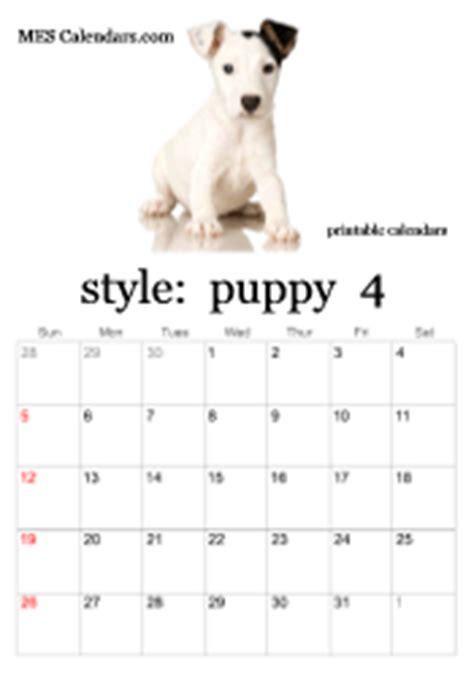 printable puppy calendars templates  calendars