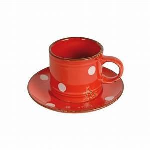 Tasse Et Sous Tasse : tasse sous tasse faience rouge pois blanc ~ Teatrodelosmanantiales.com Idées de Décoration