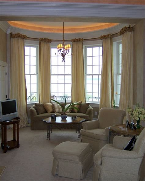 ballgown drapery  bow window contemporary living