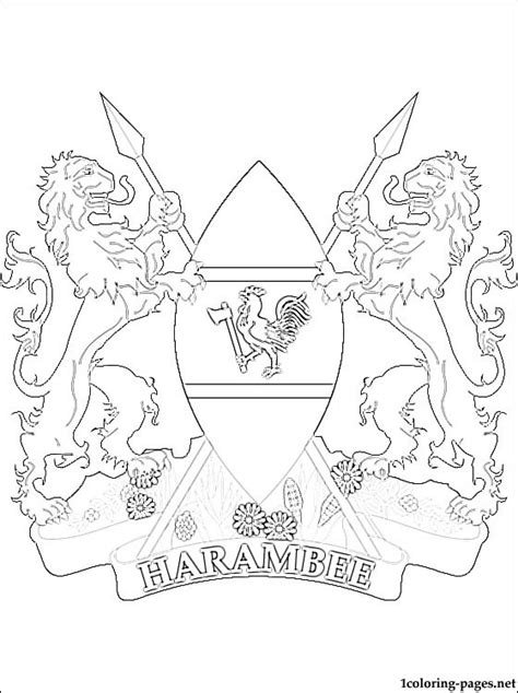 kenya coat  arms coloring page coloring pages