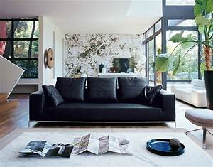 Black leather sofa interior design ideas for Interior decorating ideas black leather sofa