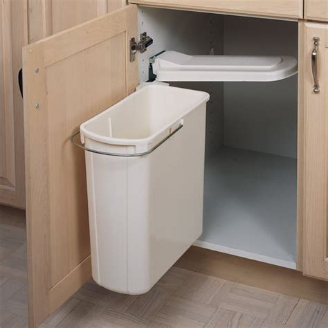 kitchen cabinet trash rev a shelf single pivot out trash 20 liter white 8 700411 2816