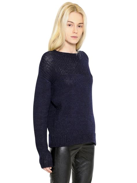 marant sweater étoile marant wool alpaca blend sweater in blue