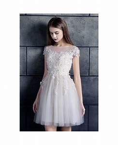 Cheap short wedding dresses lace with sleeves white high for Wedding dresses with sleeves cheap