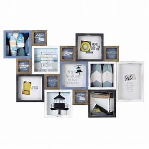 cadre photo en bois bleu et blanc 70 x 113 cm portland With cadre maison du monde
