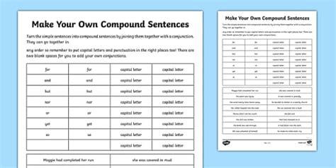 compound sentences cards compound sentences