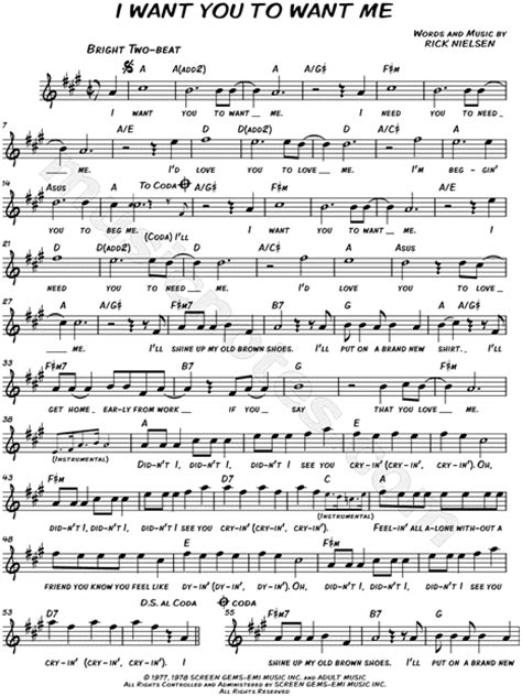 cheap trick quot i want you to want me quot sheet music leadsheet