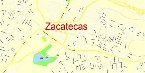 map zacatecas mexico  printable editable city plan