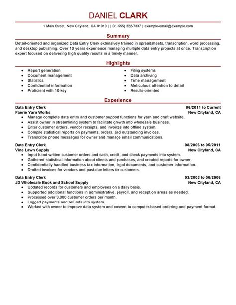 resume summary exles entry level writing resume