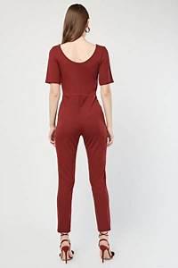 Scoop Neck Maroon Jumpsuit - Just £5