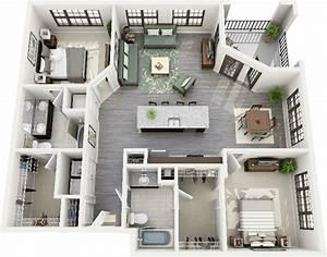 50 plans 3d d39appartement avec 2 chambres design With plan maison en longueur 1 plan maison 3d dappartement 2 piaces en 60 exemples