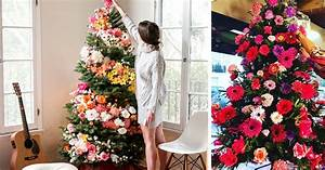 people use flowers to decorate their christmas trees and With christmas tree decorations with flowers