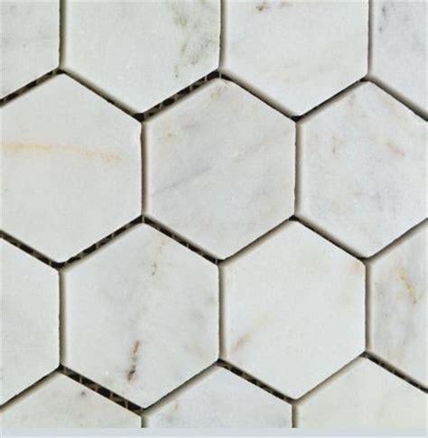 2x2 hexagon bianco venatino polished marble mosaic