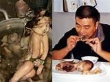 Asians eat human photo