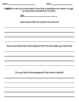 moral of a story worksheet by bowlsbey tpt