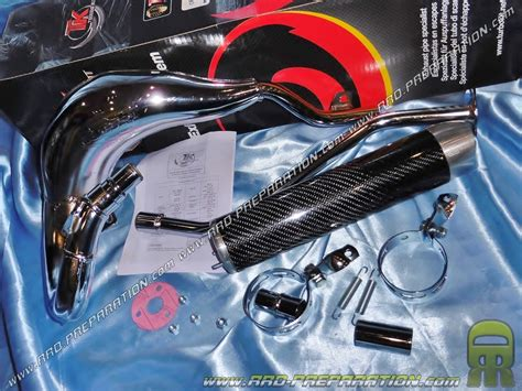 exhaust turbokit tk hq racing chrome carbon high passage for trigger generic keeway supermoto