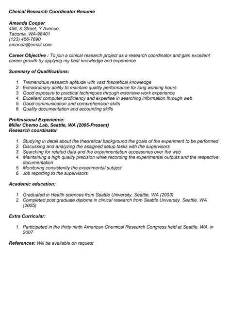 Research Position Resume Objective by Clinical Research Coordinator Resume Anuvrat Info
