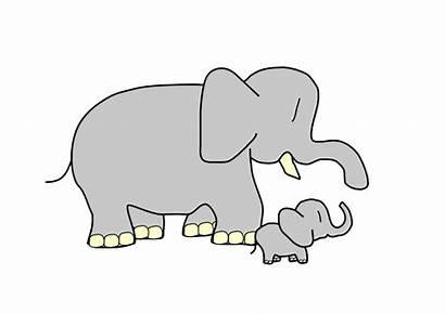 Elephant Clipart Clip Animated Elefante Cartoon Mama