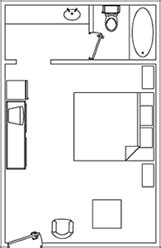 standard-room-layout.gif (161×248) | Motel room, Room