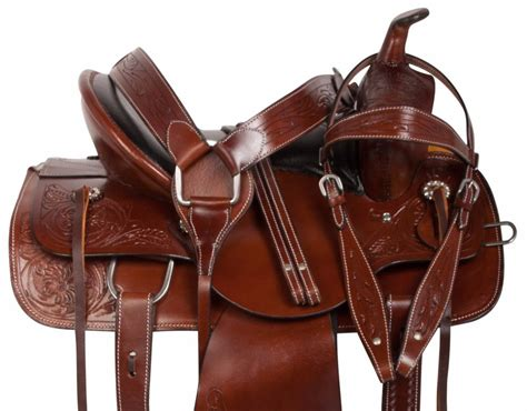Tooled Leather 16 Western Studded Ranch Work Roping Trail