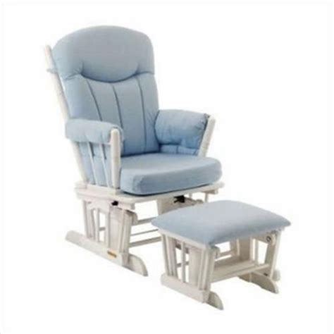 shermag aiden glider and ottoman set white with grey fabric shermag glider and ottoman set in white finish with blue