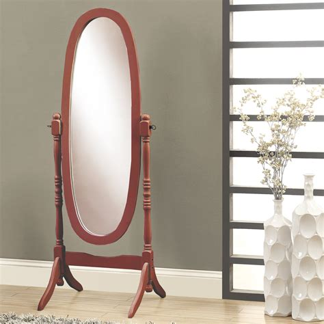 monarch specialties  oval wood frame standing mirror