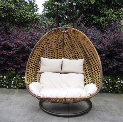 2 seater garden hanging chair sofa brown rattan