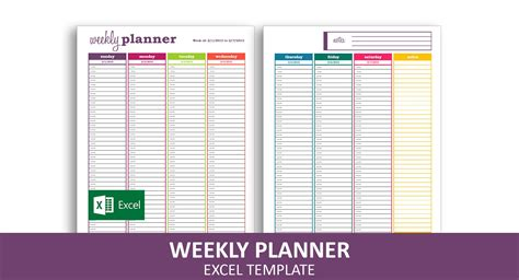 basic weekly planner excel template savvy spreadsheets