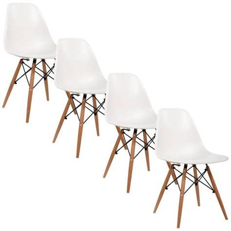 chaises blanches design chaise design blanche pieds en bois retro lot de 4 achat