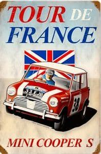 mini cooper   de france rusted steel sign mm