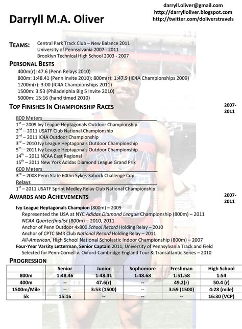athletic resume template darryll oliver athletic resume