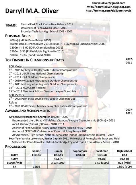 Sle Athletic Resume by Darryll Oliver Athletic Resume