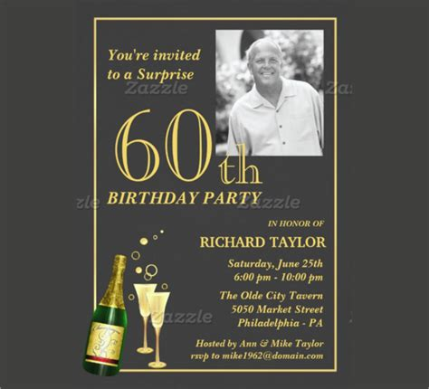 60th Birthday Invites Free Template by 60th Birthday Invitation Card Template Free