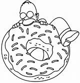 Donut Coloring Pages Homer Simpsons sketch template