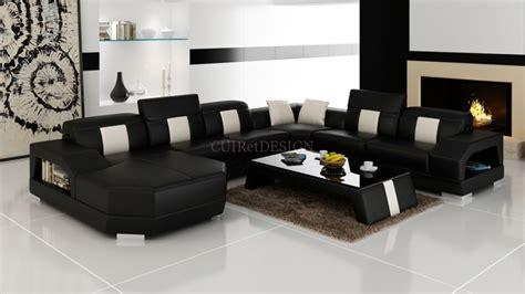 canape d angle en cuir noir canapé d 39 angle panoramique miami en cuir design