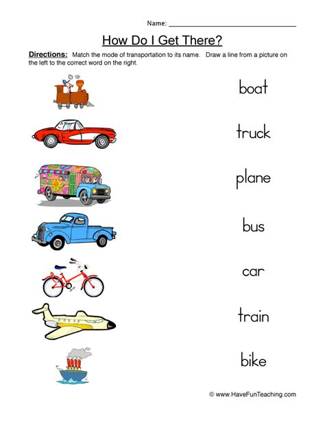transportation worksheets teaching