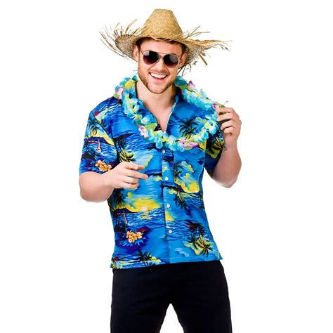 MENS HAWAIIAN SHIRT STAG RETRO BEACH LUAU TROPICAL ALOHA FANCY DRESS COSTUME TOP | eBay