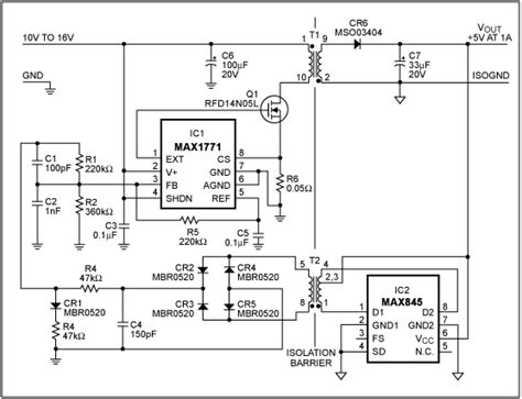 Step Down Converter Has Transformer Isolated Feedback