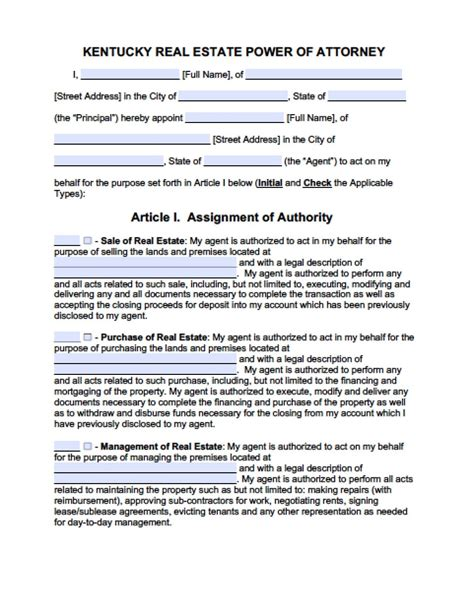 kentucky real estate only power of attorney form power