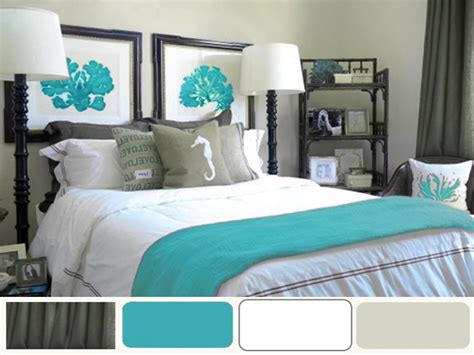Turquoise Decorating Ideas, Grey And Turquoise Bedroom