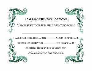 free printable wedding vows renewal certificate template With vow renewal certificate template