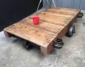 Roue Table Basse : chariot d 39 usine table basse roues en fonte ~ Teatrodelosmanantiales.com Idées de Décoration