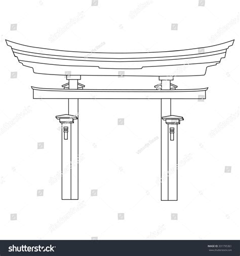 Japanisches Tor Kaufen by Raster Illustration Of Japanese Gate Outline Drawing