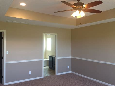 i like the tray ceiling and two tone walls with chair rail