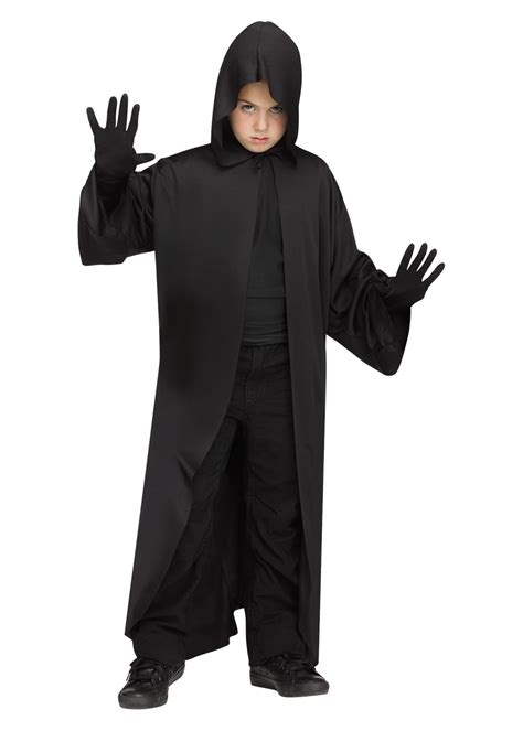 boys black hooded robe scary costumes
