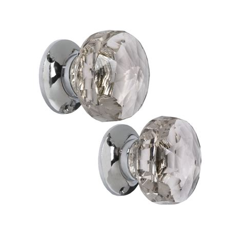 frances pair of clear glass door knobs at